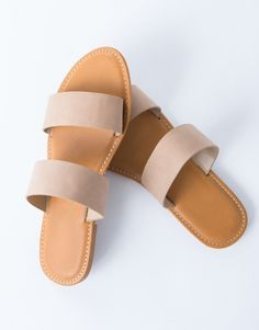 Double Banded Sandals - White Leather Sandals - Leather Sandal Slides – 2020AVE
