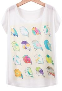Camiseta con diferentes pájaros.