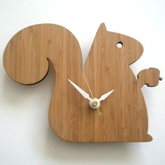 We received this gift today. LOVE!!    Modern Baby Clock  Squirrel by decoylab on Etsy, $54.00