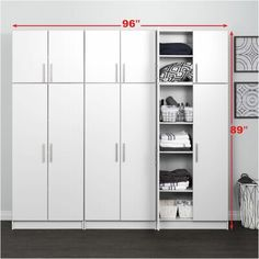 Elite with 6 Storage Cabinet Set White - Prepac Utility Storage Cabinet, Garage Storage Cabinets, Basement Storage, Locker Storage, Garage Organization, Wall Storage, Basement Remodeling, Basement Ideas, Storage Sets