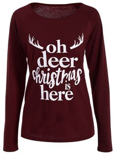 | Black Friday Sale: Extra 15% OFF Using Code SAMMY2016 | Deer Print Christmas T-Shirt in Wine Red | Sammydress.com