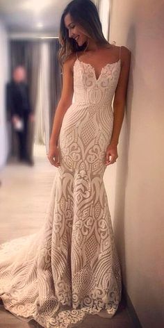 trumpet lace sweetheart neck spaghetti straps with train hayley paige wedding dresses