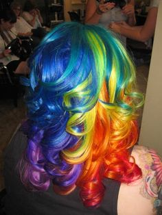 Rainbow Curls  WOW!  I have to wonder how you wash it without all of the colors bleeding together.