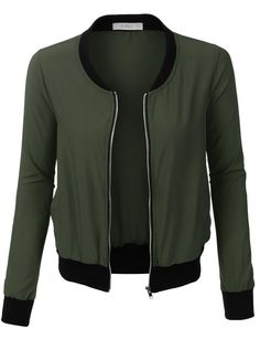 LE3NO Womens Ultra Lightweight Short Bomber Jacket with Pockets