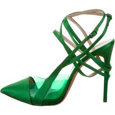 Pre-owned Casadei x Prabal Gurung Satin PVC-Accented Pumps (370 CAD) ❤ liked on Polyvore featuring shoes, pumps, green, pointed toe shoes, buckle shoes, casadei shoes, pointy-toe pumps and satin pumps