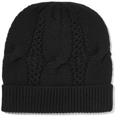Duffy Cable knit merino wool beanie ($95) ❤ liked on Polyvore featuring accessories, hats and duffy
