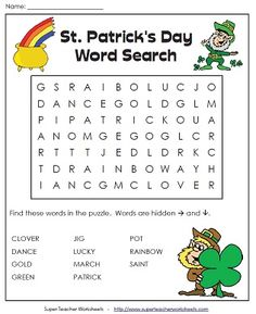 A Puzzle For St Paddy S Day Paddys Dayst Patricks Dayteacher Worksheetsword