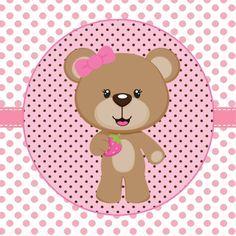 Etiquetas de color rosa-marrón-oso de impresión y de color - para Consejos mamá