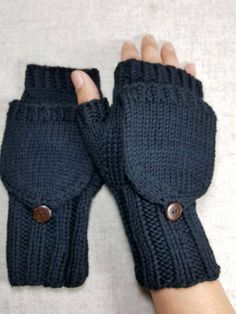 Convertible Mittens for women eco accessory ecofriendly gloves arm warmers black knitted Crochet Round, Knit Or Crochet, Fingerless Gloves Knitted, Knitted Hats, Knitting Socks, Hand Knitting, Double Pointed Knitting Needles, Mittens Pattern, Mens Gloves