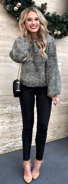 #winter #outfits gray sweater with black pants outfit