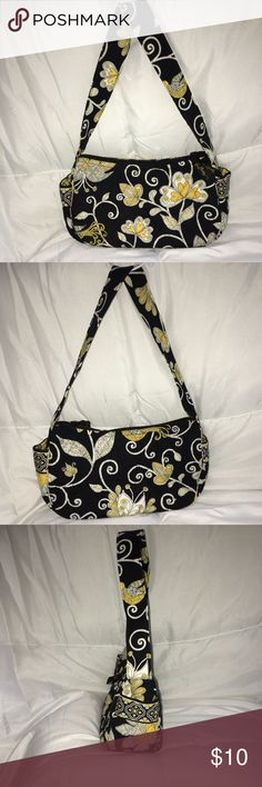 VERA BRADLEY Black and Yellow Bird Pattern Purse ✨VERA BRADLEY Black and Yellow Bird Pattern Purse ~Yellow Bird Pattern ~Only used a few times, perfect condition - no damage ~Two side pouches for easy access  ~Two inside pouches for great organization  ~100% Cotton and machine washable  ~Vera Bradley ribbon zipper pull ~Strap is a great length for carrying this purse hands free ~The Perfect accessory for any outfit! Please comment for any additional information!✨ Vera Bradley Bags Shoulder…