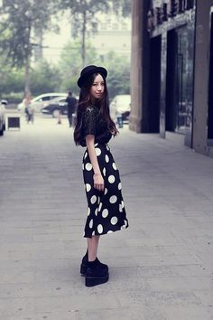 Shop this look on Kaleidoscope (skirt, blouse, shoes)  http://kalei.do/WxJbHrrXzB9KxWKm