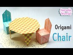 Origami - Chair (Chair & Table - Chair) (How to fold, tutorial) Origami Ball, Origami Rose, 3d Origami, Origami Chair, Origami Furniture, Origami Bookmark, Origami Folding, Paper Crafts Origami, Origami Flowers