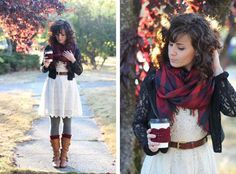 Love the dress and scarf, especially paired with red boot socks. The cardigan has potential, too.
