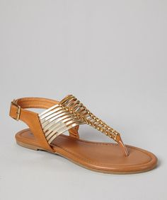 Another great find on #zulily! TOP MODA Tan Buckle Garden T-Strap Sandal by TOP MODA #zulilyfinds  I like these!!