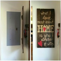 hinge canvases over your electrical panel to hide it but. Black Bedroom Furniture Sets. Home Design Ideas