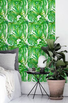 Watercolor monstera leaves wallpaper Palm leaves temporary
