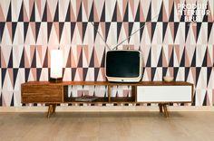 Meuble TV Stockholm - meuble vintage - Design des années 50, tout en acacia massif