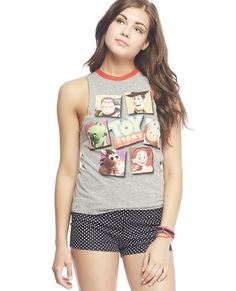 """<p>We absolutely love this cute tank with some of our fave characters from the movie Toy Story™ screen printed along the front a heathered knit body, round ribbed knit trim with a pop of color, raw edge armholes, and a relaxed fit.</p>  <p>Model is 5'9"""" and wears a size small</p>  <ul> <li>60% Cotton / 40% Polyester</li> <li>Machine Wash</li> <li>Imported</li> </ul>"""