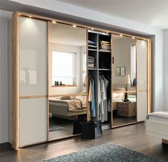 Stylform Cassiopea - 250-300cm Oak & Glass Sliding Door Wardrobe - Head2Bed UK