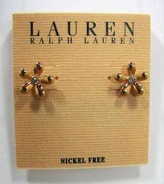 Ralph Lauren Gold Tone Flower w/ Crystal Center Nickel Free Stud Earrings  #RalphLauren #Stud