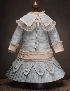 "Antique French Aqua Silk Dress for Jumeau Bru Steiner Bebe doll about 19-20"""