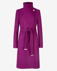 Long wool wrap coat - Pale Purple | Jackets & Coats | Ted Baker UK
