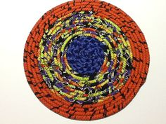Halloween Trivet, Purple Orange and Black Hot Pad, Coiled Rope Trivet, Quiltsy…