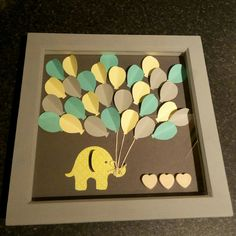 Hi all, we made this cute elephant with balloons as a baby shower gift. So the three wooden hearts can be used for the date of birth of the baby! We saw this idea online and added our own bit! We p…
