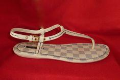 Louis Vuitton Italy Damier AZUR Leather Thong T Strap Sandals Flats 41 9