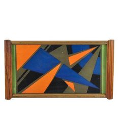 Vintage Art Deco Orange, Blue, Green, Black Abstract Triangles Glass / Wood Frame Rectangular Tray. Available at The Hour Shop & TheHourShop.com ~ curated home barware & cocktail glassware for the modern home bar. #glasstray #artdeco #homedecor