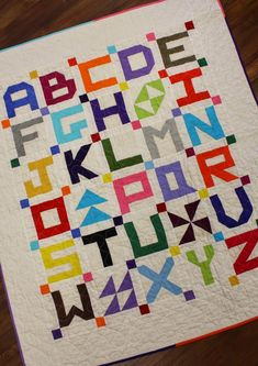 Temecula Quilt Company: Little Letters - Alphabet quilt blocks and quilt pattern Quilt Block Patterns, Pattern Blocks, Quilt Blocks, Quilt Baby, Small Quilts, Mini Quilts, Bright Quilts, Alphabet Quilt, Alphabet Blocks