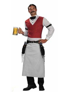 Serve the wild frontier in this Old West Bartender Costume! This Old West Bartender Costume features a black bow tie, arm garters, vest with attached shirt front, apron, and holstered belt. Halloween Costume Shop, Halloween Fancy Dress, Halloween Costumes For Kids, Funny Halloween, Western Saloon, Western Wild, Toddler Costumes, Adult Costumes, Family Costumes