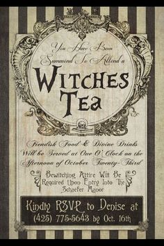 Tea:  Witches #Tea Invitation.