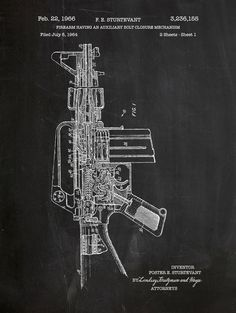 M16 Fire Arm patent print on chalkboard background