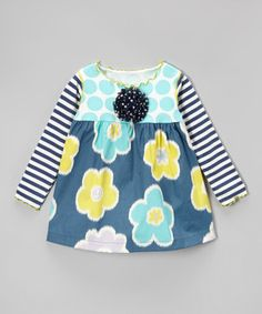 Love this Navy & Teal Bold Floral Swing Top - Toddler & Girls by SILLY MILLY on #zulily! #zulilyfinds