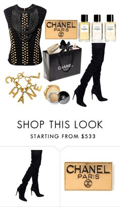 """""""CHANEL BLACK ... GOOD CHANEL"""" by nurinur ❤ liked on Polyvore featuring Chanel and Balmain"""