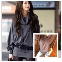 COTTON COWL NECK LONG SLEEVE TOP IN GREY Love this top!!  Cowl neck and long sleeves. Banded hem. Cotton blend. Grey. Fits S/M best. Have 3 S and 3 M.  The color looks brownish in these pics but it's closer to the grey in the model pictures. Tops