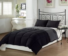 (Click to order - $29.99) Chezmoi Collection 2pcs Black Grey Super Soft Goose Down Alternative Reversible Comforter Set Twin /Twin XL From Chezmoi Collection