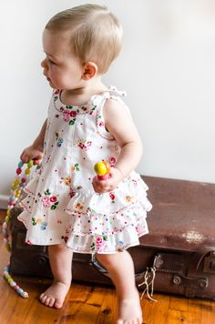 Baby & Girl's Dress and Bloomers Sewing Pattern.                                          Sample features fabric from Linda at A Garden of Roses fabric shop --- www.etsy.com/shop/agardenofroses.