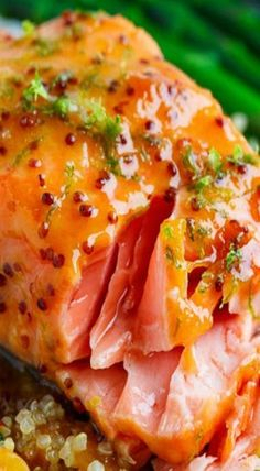 Apricot Dijon Glazed Salmon Salmon baked in an apricot dijon glaze with ginger and lime. Fish Recipes, Seafood Recipes, Dinner Recipes, Cooking Recipes, Healthy Recipes, Kitchen Recipes, Fish Dinner, Seafood Dinner, Dinner Menu