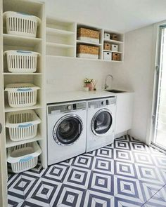 Laundry Room Design: Stunning 80 Beautiful Laundry Room Tile Pattern Id. Room Organization, Room Remodeling, Laundry Room Tile, Room Diy, Room Storage Diy, Garage Laundry, Room Makeover, Basement Laundry, Room Design