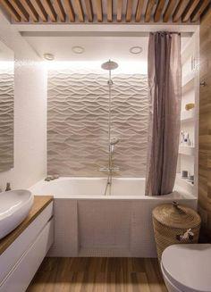 Idée décoration Salle de bain revêtement mural salle de bain en panneaux 3D et lambris en bois