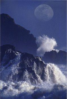Moon over Goat Rock Beach, Sonoma County, California