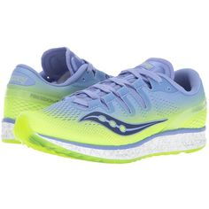 Saucony Freedom ISO (Purple/Citron) Women's Shoes ($160) ❤ liked on Polyvore featuring shoes, athletic shoes, lightweight running shoes, stretchy shoes, saucony, lace up shoes and laced shoes