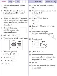 Search Results for Math grade 2 day 1 2nd Grade Reading Worksheets, Mental Maths Worksheets, Second Grade Math, Grade 2, Maths Paper, Math Exercises, Teaching Math, Teaching Time, Teaching Spanish