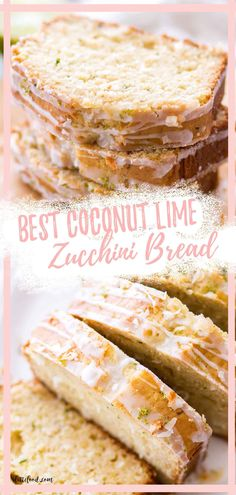 This Lime Coconut Zucchini Bread Recipe is a moist zucchini bread with coconut and lime zest, and it's topped with a citrus lime glaze and toasted coconut. It's an easy zucchini loaf cake recipe! Coconut Zucchini Bread, Zucchini Loaf, Zucchini Bread Recipes, Lime Desserts, Summer Desserts, Easy Desserts, Delicious Desserts, Best Cake Recipes, Amazing Recipes