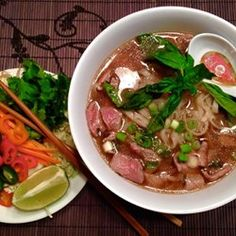 The key to the Vietnamese noodle soup pho is in the broth. Beef bones, onions, star anise, ginger, and fish sauce get simmered for 6 to 10 hours to create a rich and flavorful base for this hearty and comforting soup.