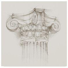 Trademark Fine Art 'Column Schematic II' Canvas Art by Ethan Harper, Size: 24 x Gray Architecture Antique, Architecture Sketchbook, Art Sketchbook, Architecture Art, Drawing Sketches, Pencil Drawings, Art Drawings, Drawing Ideas, Artist Canvas