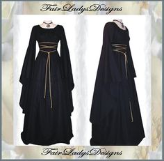 Sale - Medieval/Renaissance Black Trumpet Sleeve Costume Gown, Custom made to order via Etsy